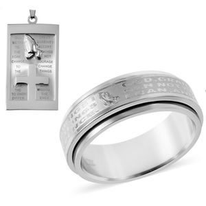 Stainless Steel Prayer Ring and Pendant Necklace